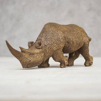 Wood sculpture, 'Charging Rhino' - Handmade Raintree Wood Rhino Sculpture from Thailand
