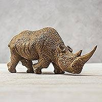 Wood sculpture, 'Respectful Rhino' - Raintree Wood Rhinoceros Sculpture from Thailand