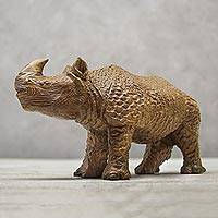 Wood sculpture, 'Awestruck Rhino' - Hand-Carved Wood Rhino Sculpture from Thailand