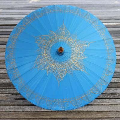 Saa paper parasol, 'Motifs on Blue' - Saa Paper Parasol in Blue with Gold Accents from Thailand