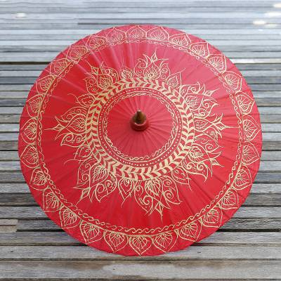 Saa paper parasol, 'Motifs on Red' - Saa Paper Parasol in Red with Gold Accents from Thailand
