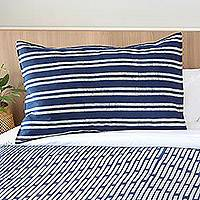 Batik cotton pillow sham, 'Simply Striped' - Striped Batik Cotton Pillow Sham from Thailand