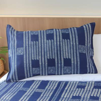 Batik cotton pillow sham, 'Indigo Forever' - Infinity Motif Batik Cotton Pillow Sham from Thailand