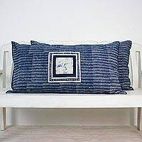 Batik cotton pillow shams, 'Indigo Holiday' (pair) - Batik Cotton Pillow Shams in Indigo and White (Pair)