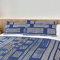Batik cotton pillow shams, 'Bamboo Lattice' (pair) (Thailand)