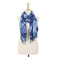 Tie-dyed rayon and cotton blend scarf, 'Beneath the Sea' - Tie-Dyed Rayon and Cotton Blend Wrap Scarf in Blue
