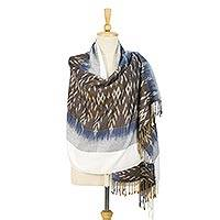 Tie-dyed rayon and cotton blend shawl, 'Charming Mudmee' - Geometric Tie-Dyed Rayon and Cotton Blend Shawl