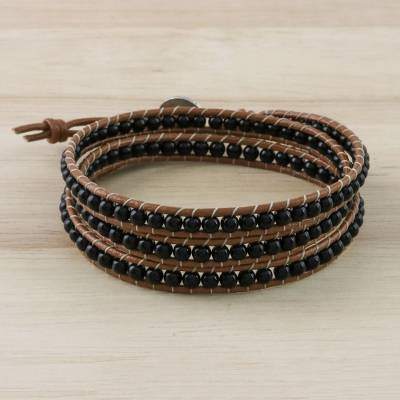 Onyx beaded wrap bracelet, 'Calm Touch' - Onyx Beaded Wrap Bracelet from Thailand