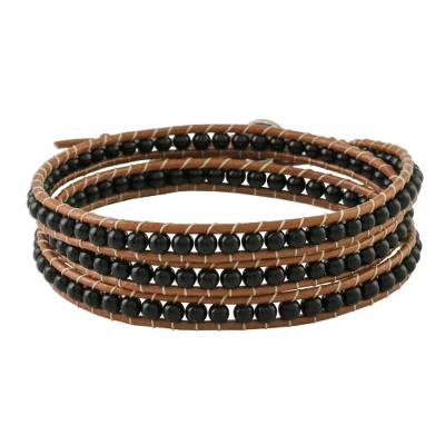 Onyx Beaded Wrap Bracelet from Thailand