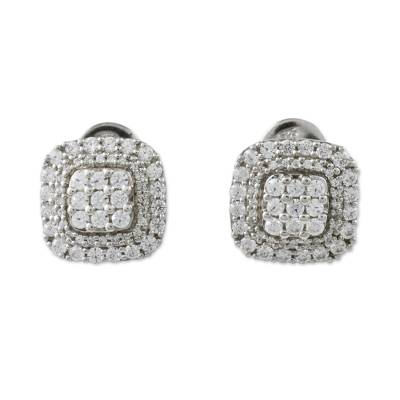 Sparkling Sterling Silver Stud Earrings from Thailand