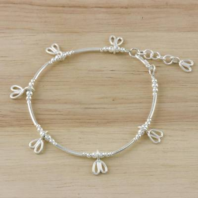 Sterling silver beaded charm bracelet, 'Little Elegance' - Sterling Silver Beaded Charm Bracelet from Thailand
