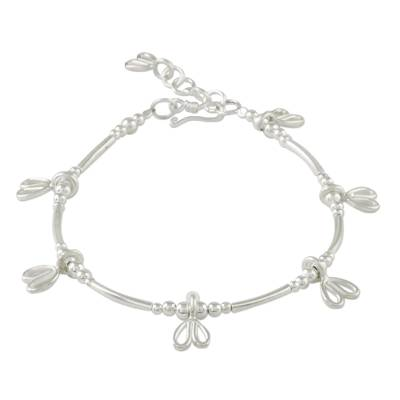 Sterling Silver Beaded Charm Bracelet from Thailand