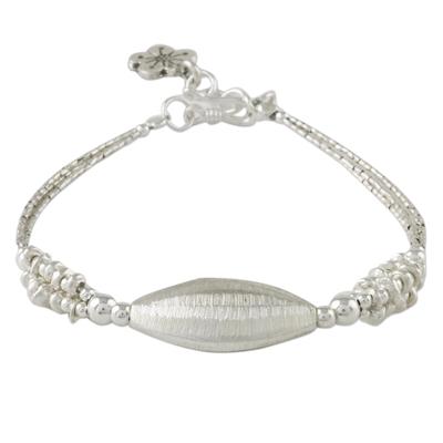 Karen Silver Beaded Pendant Bracelet from Thailand