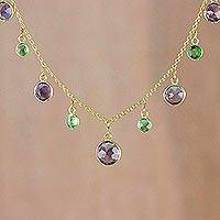 Gold plated amethyst and peridot pendant necklace, 'Colorful Moons' - Gold Plated Amethyst and Peridot Necklace from Thailand