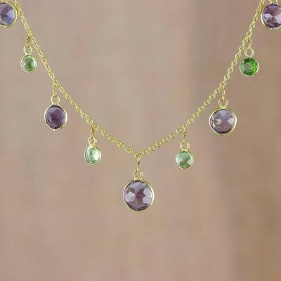 Gold plated amethyst and peridot waterfall necklace, 'Colorful Moons' - Gold Plated Amethyst and Peridot Necklace from Thailand