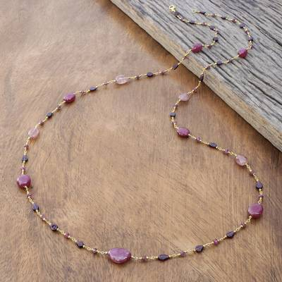 Gold plated multi-gemstone long necklace, 'Chiang Mai Station' - Gold Plated Multi-Gemstone Long Station Necklace