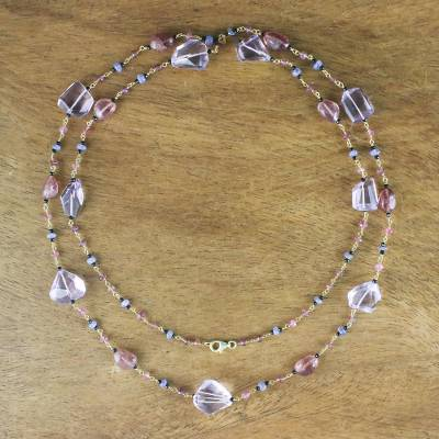 Gold accented multi-gemstone long link necklace, 'Violet Passion' - Gold Accented Multi-Gemstone Long Link Necklace in Purple