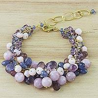 Gold plated multi-gemstone beaded bracelet, 'Sweet Vineyard' - Gold Plated Multi-Gem Beaded Bracelet from Thailand
