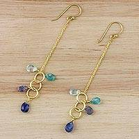Gold plated multi-gemstone dangle earrings, 'Special Loops in Blue' - Gold Plated Multi-Gemstone Dangle Earrings in Blue