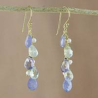 Gold plated multi-gemstone dangle earrings, 'Sparkling Cluster in Blue' - Gold Plated Multi-Gemstone Dangle Earrings in Blue