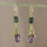 Gold plated multi-gemstone dangle earrings, 'Beautiful by Night' - Gold Plated Natural Multi-Gemstone Dangle Earrings