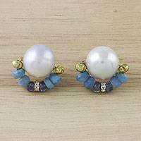 Gold plated multi-gemstone button earrings, 'Full Blue Moon' - Gold Plated Multi-Gemstone Button Earrings from Thailand