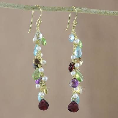 Gold plated multi-gemstone dangle earrings, Way of Love