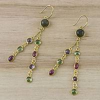 Gold plated multi-gemstone dangle earrings, 'Peacock Mood' - Gold Plated Multi-Gemstone Dangle Earrings from Thailand