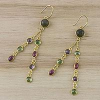 Gold plated multi-gemstone dangle earrings Peacock Mood (Thailand)