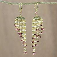 Gold plated multi-gemstone chandelier earrings, 'Majestic Domes' - Gold Plated Multi-Gemstone Chandelier Earrings from Thailand