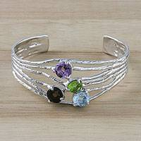 Multi-gemstone cuff bracelet, 'Changing of the Seasons' - Four Stone Multi-Gem Cuff Bracelet from Thailand