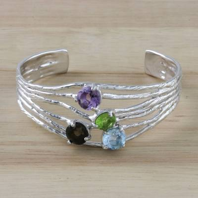 Multi-gemstone cuff bracelet, 'Changing of the Seasons' - Four-Stone Multi-Gem Cuff Bracelet from Thailand