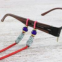 Beaded cotton eyeglasses cord, 'Focus in Red' - Thai Adjustable Beaded Cotton Eyeglasses Cord in Red