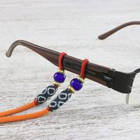 Beaded cotton eyeglasses cord, 'Focus in Orange' - Adjustable Beaded Cotton Eyeglasses Cord in Orange