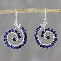 Lapis lazuli beaded dangle earrings, 'Floral Spirals' - Lapis Lazuli Spiral Dangle Earrings from Thailand
