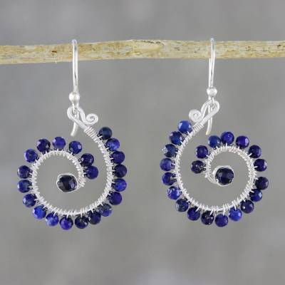 Lapis lazuli beaded dangle earrings, Floral Spirals