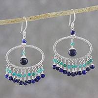 Lapis lazuli and amazonite waterfall earrings,