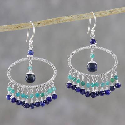 Lapis lazuli and amazonite waterfall earrings, 'Charming Ovals' - Lapis Lazuli and Amazonite Waterfall Earrings from Thailand