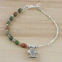 Unakite beaded charm bracelet, 'Fisherman Forest' - Unakite and Sterling Silver Beaded Fish Charm Bracelet