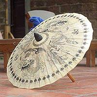 Saa paper parasol, 'Black Dragons' - Saa Paper Parasol with Black Dragon Motifs