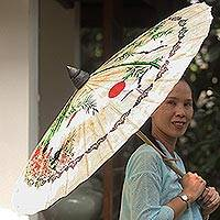 Saa paper parasol, 'Crane Morning' - Paper And Bamboo Parasol with Asian Crane Motif