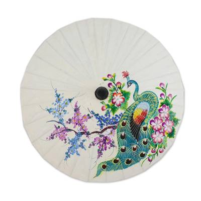 Saa paper parasol, 'Peacock and Flowers' - Floral Paper Parasol from Thailand