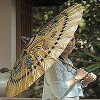 Paper parasol, 'Dragons and Peacocks' - Hand Made Paper and Bamboo Parasol