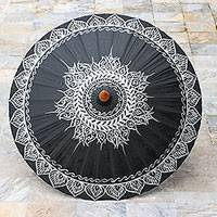 Cotton and bamboo parasol, 'Charming Thai in Silver' - Cotton Parasol with Hand-Painted Designs in Silver