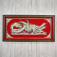 Aluminum repousse panel, 'Dragon & Phoenix' - Silver and Red Thai Repousse Panel of Dragon and Phoenix