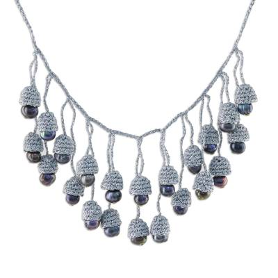 Thai Cultured Pearl Waterfall Necklace in Silver and Black