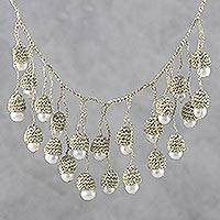 Cultured pearl waterfall necklace,