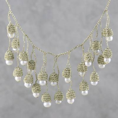 Cultured pearl waterfall necklace, 'Gold and White Passion' - Thai Cultured Pearl Waterfall Necklace in Gold and White
