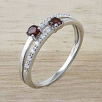 Garnet cocktail ring, 'Joined' - Handcrafted Double Garnet Sterling Silver Cocktail Ring