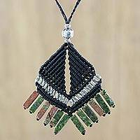 Unakite pendant necklace, 'Hill Tribe Creativity' - Hill Tribe Unakite Pendant Necklace from Thailand
